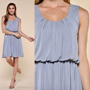 """""""Bella"""" Cupro Modal Dress in Dusty Blue"""